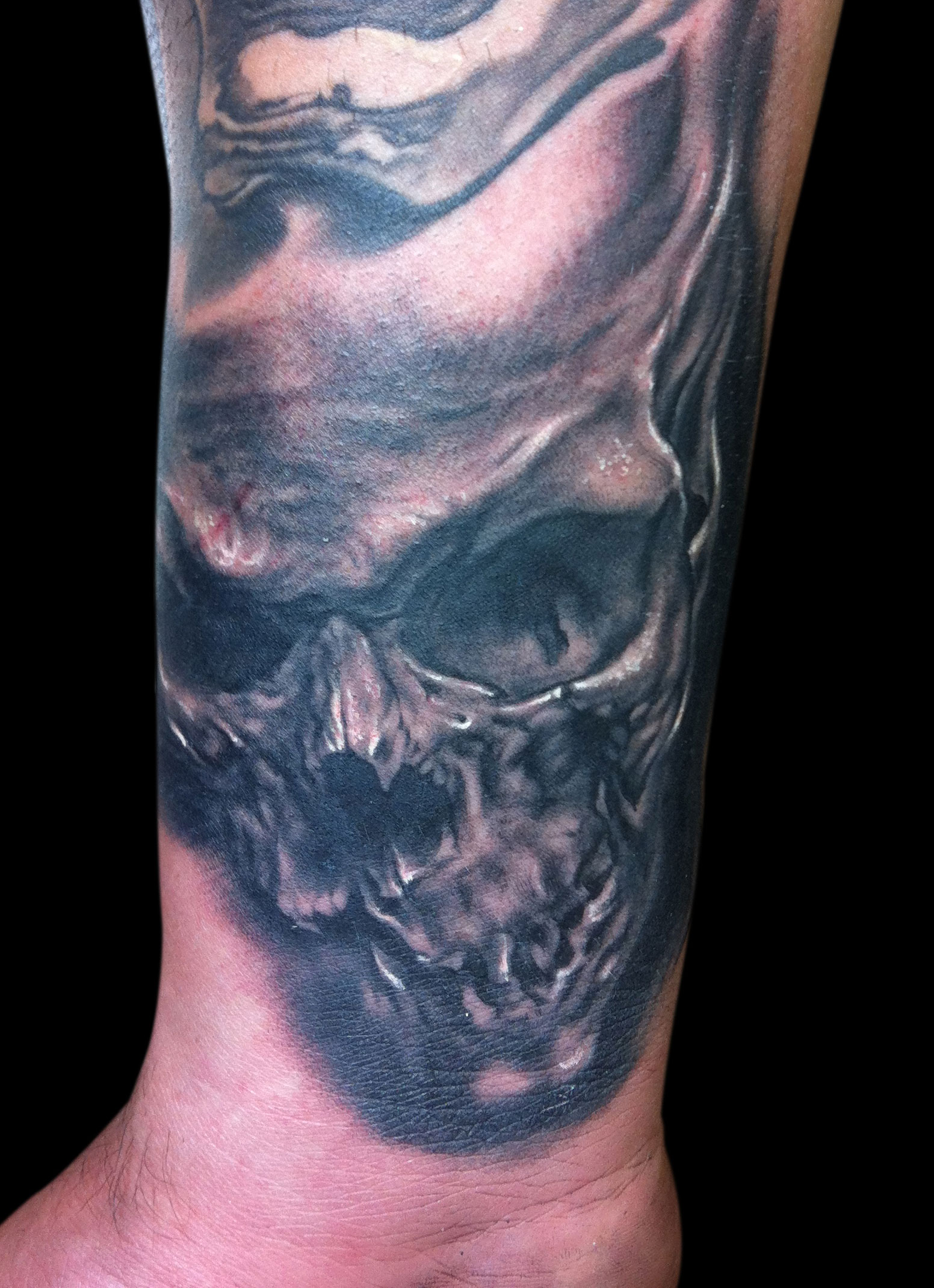 Black and Grey Wrist Skull Tattoo, (fresh)
