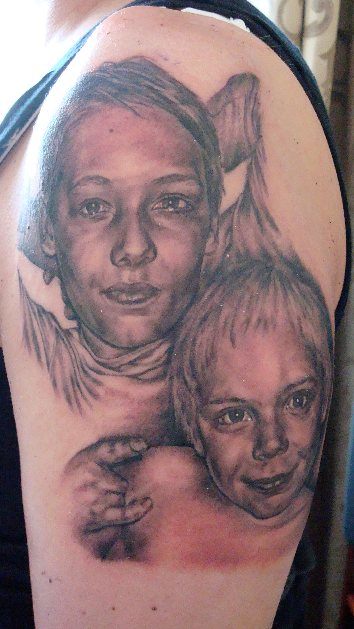 Black and Grey Portrait of Sons Tattoo, (fresh)  Hammerfest, Norway, Northernmost City in the World