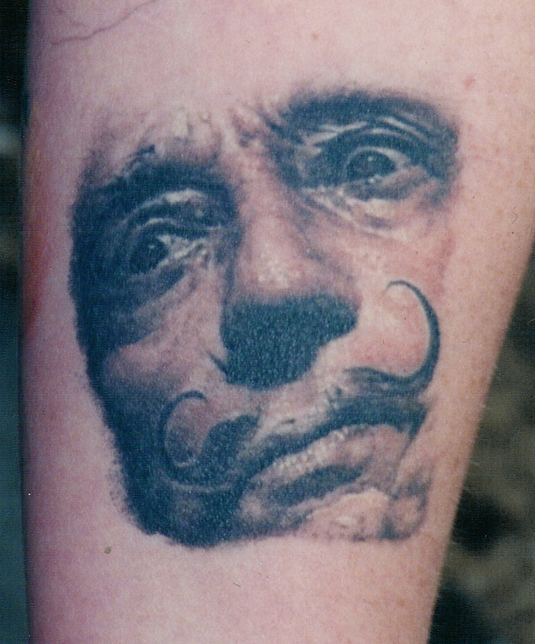 Salvador Dalí Color Portrait Tattoo, (healed photo) tattooed in 2001