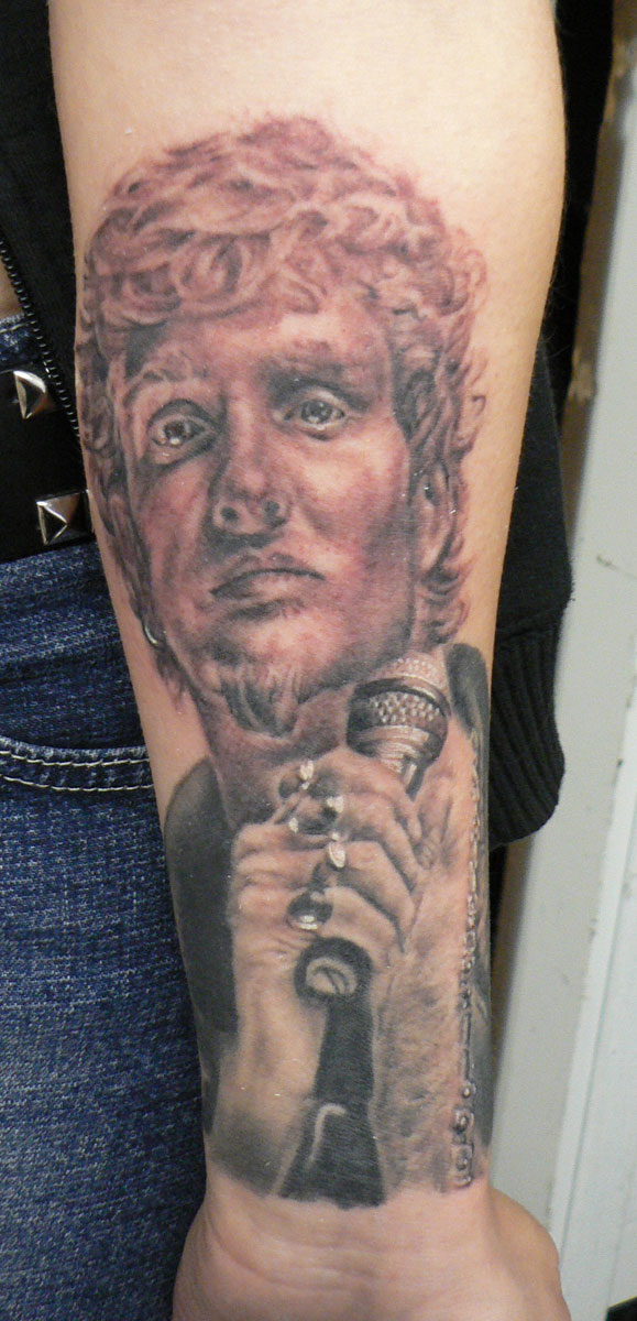 Black and Grey Lane Staley Portrait Tattoo, (fresh) 2005