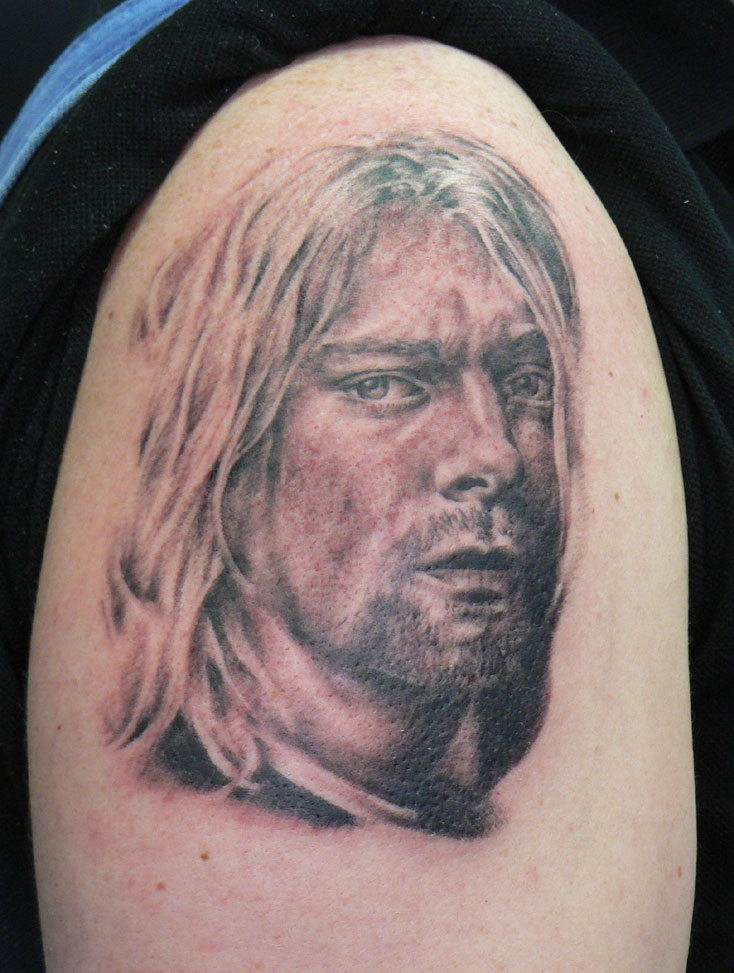 Black and Grey Kurt Cobain Portrait Tattoo, (fresh) 2005