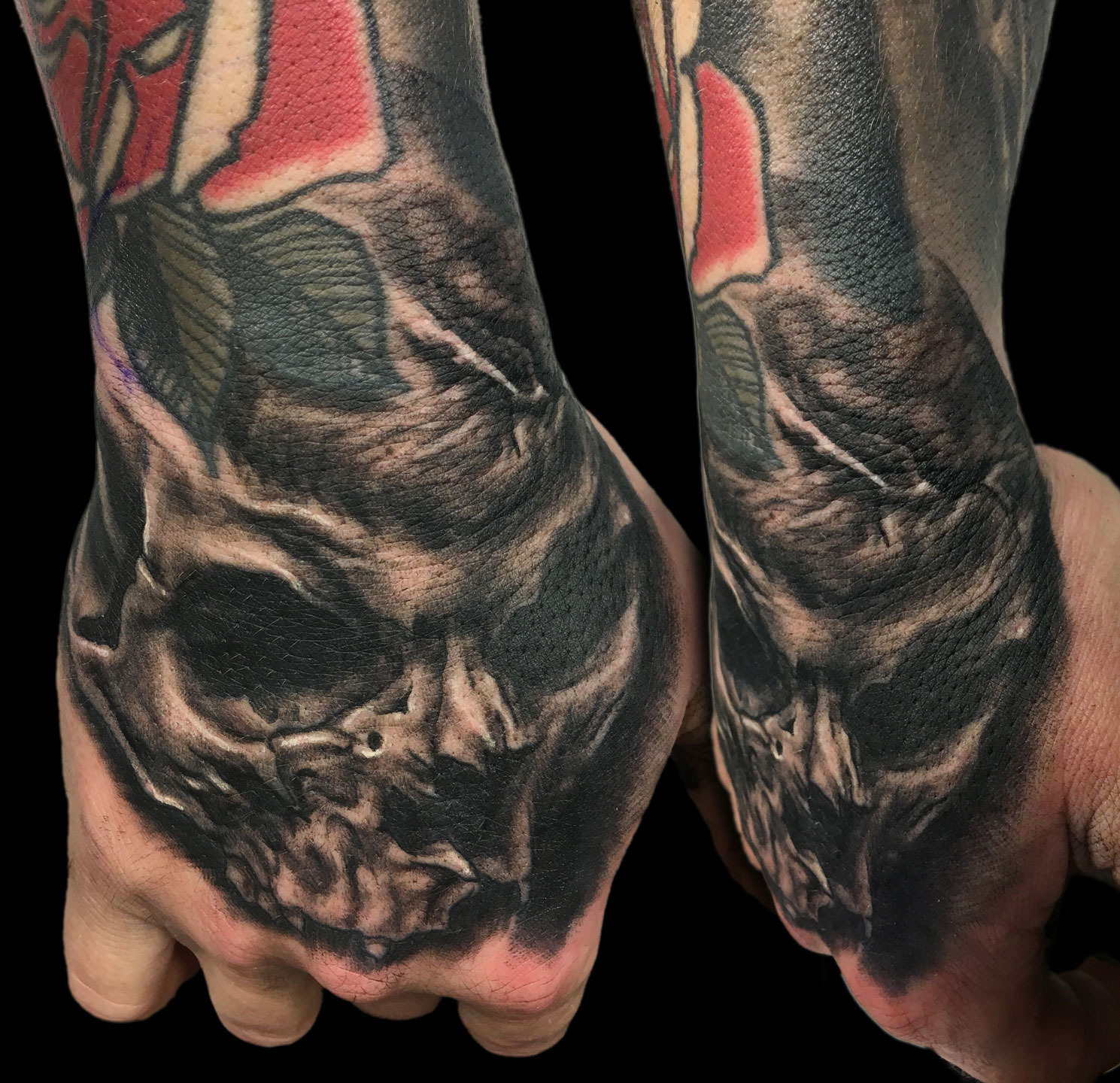 Black and Grey Coffee Bean Brain Skull Tattoo, (fresh) on hand
