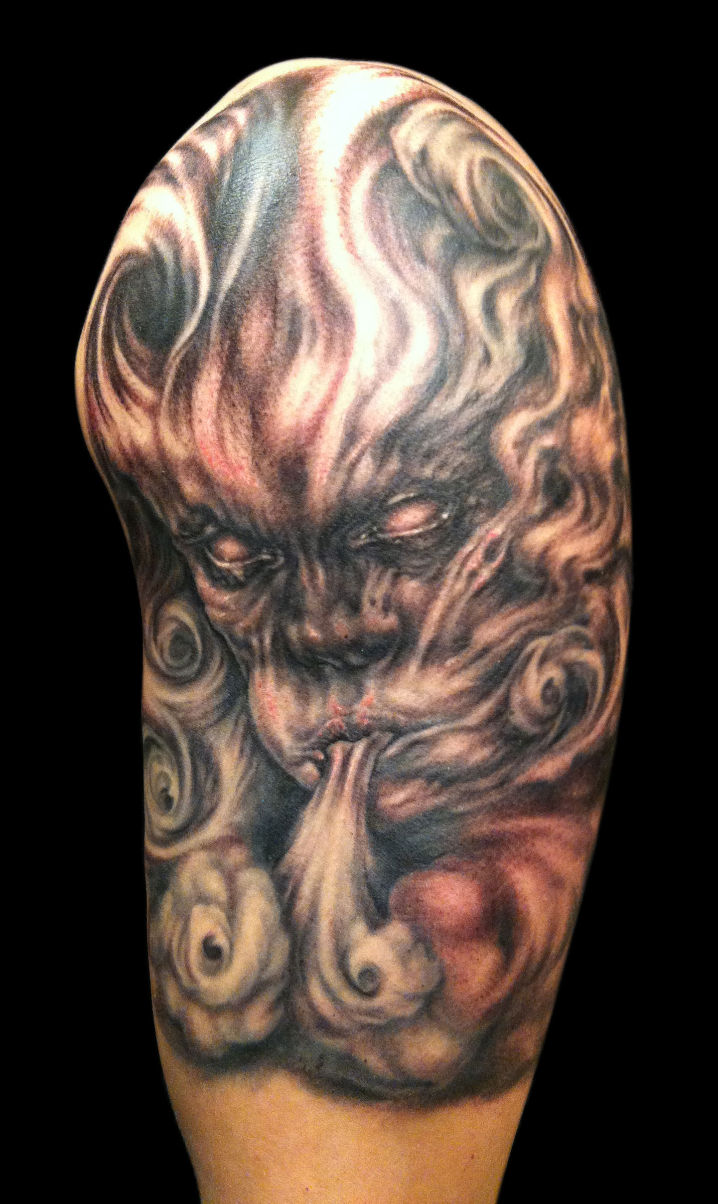 Black and Grey Wind God Tattoo, Stavanger Tattoo Convention, Norway