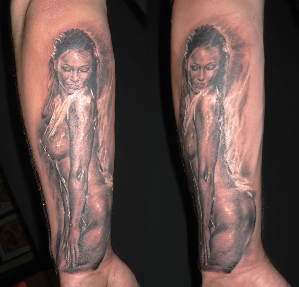 Black and Grey Wet Nude Pin Up Tattoo, (fresh)