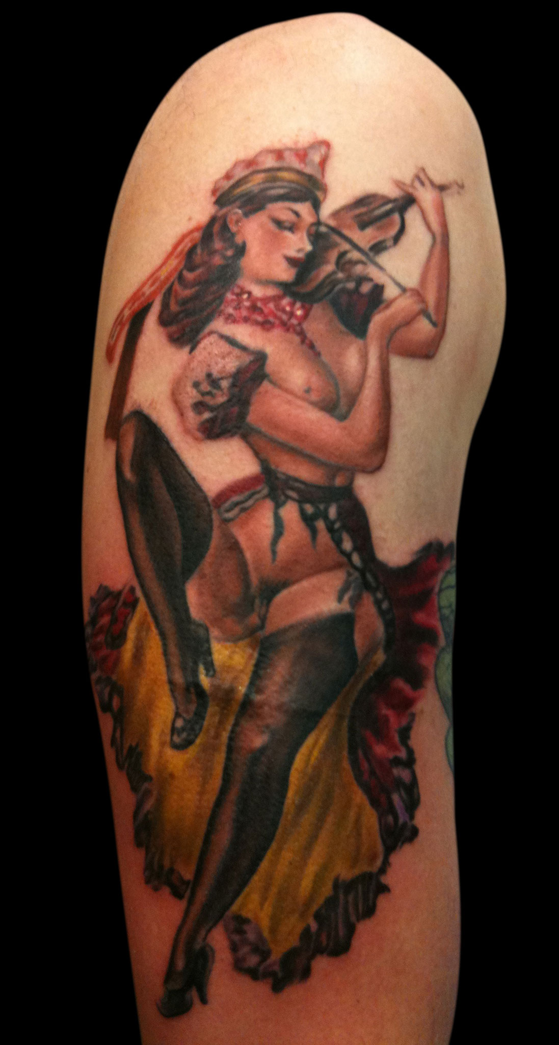 Color Violin Pin Up Tattoo, from 1920's erotica painting