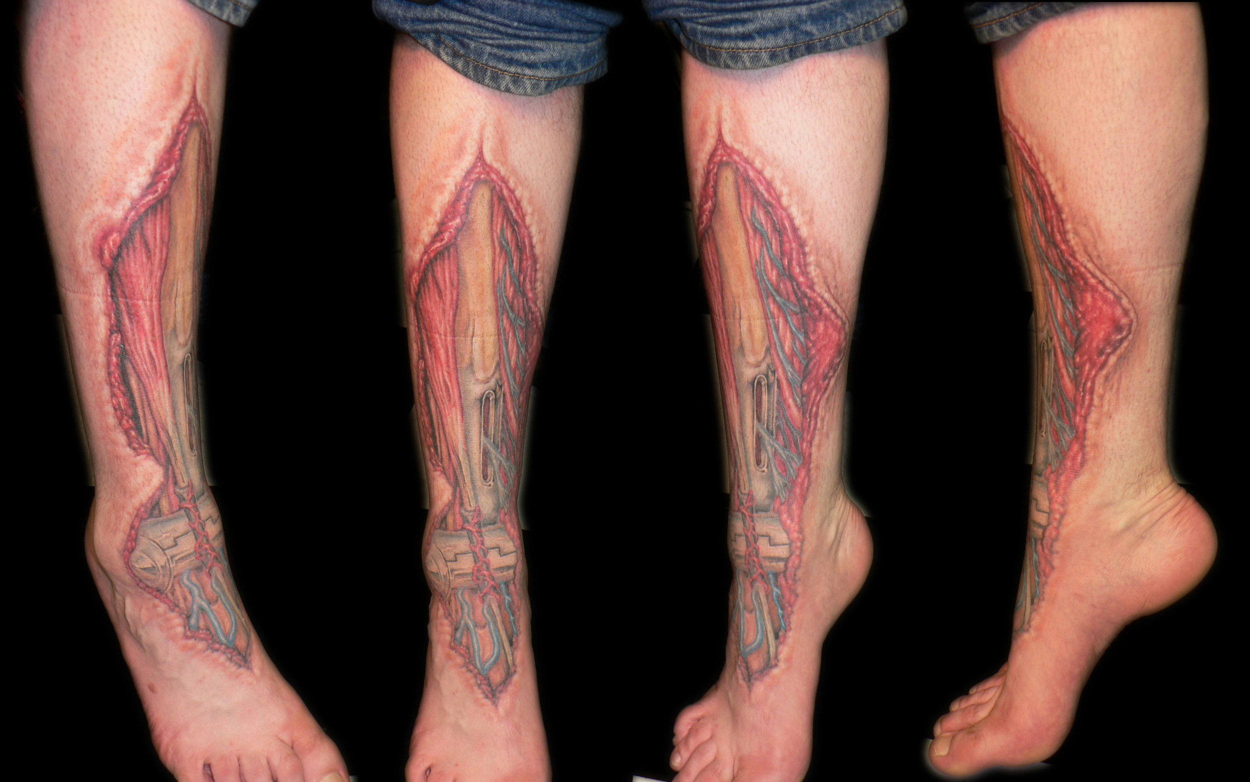 Color Anatomical Biomechanic Leg Gore Tattoo, (healed)