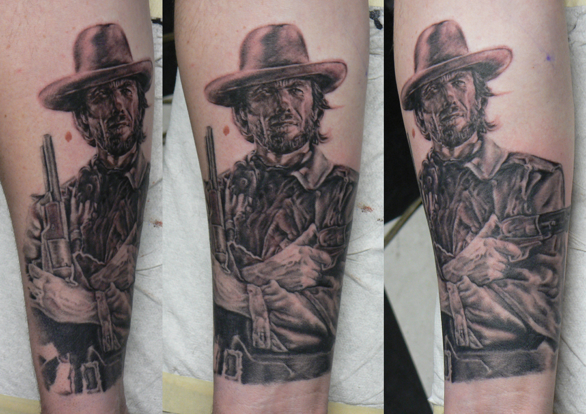 Black and Grey Clint Eastwood 'The Good, The Bad, and the Ugly' Portrait Tattoo, (part fresh, part healed)