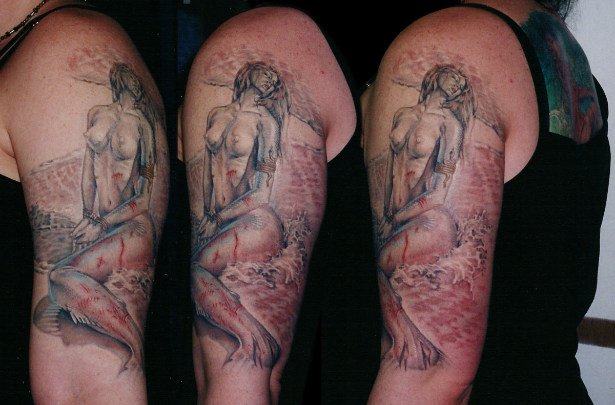 Color Tattoo Rendition of Soroyama Mermaid Painting, (healed) tattooed in 2002