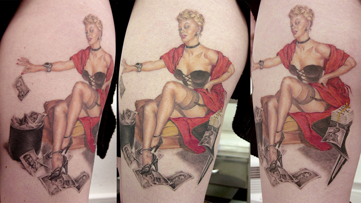 Color 'Man Eater' Pin Up Tattoo on Thigh, (healed) 2003