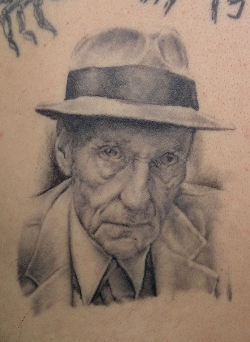 "Black and Grey William S. Burroughs Portrait Tattoo, (healed) tattooed in 2002 at the first ""Evolution""Seattle Tattoo Expo, USA"
