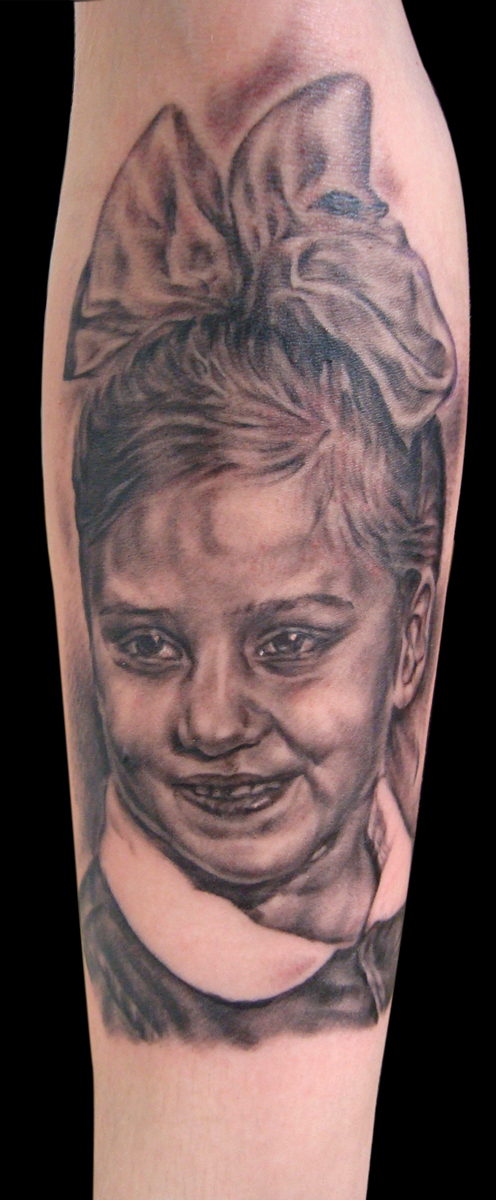 Black and Grey 'Mother as Child in Russia' Portrait Tattoo, (fresh)
