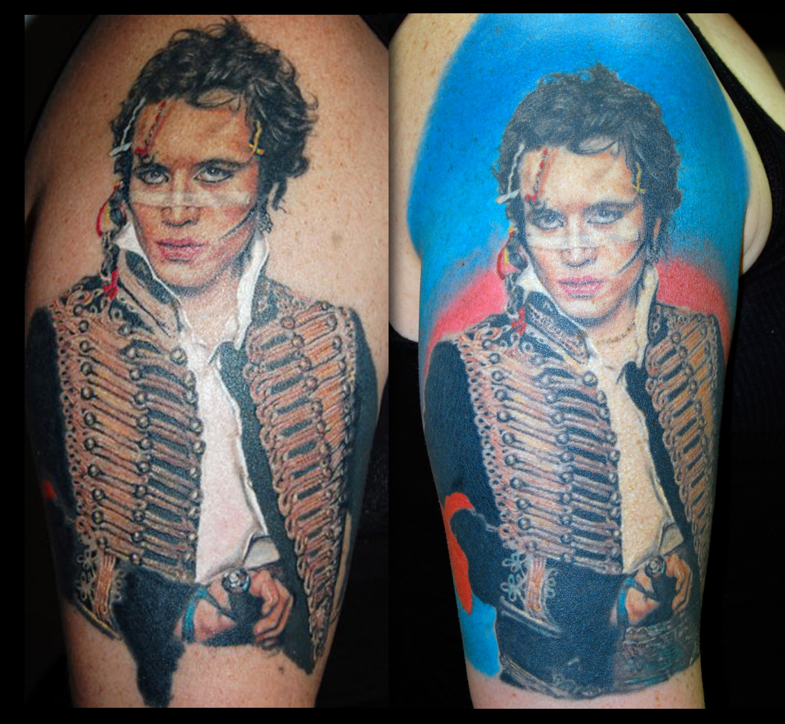 Adam Ant Color Portrait Tattoo, (tattooed mid 2000's era, healed photo)  Here is another one that I never got a good photo of.  It is from mid 2000's era when I was doing a lot of experimenting to see how far I could go tattooing realism in color.  I put a lot of work into this one, so I'll use these pics that I found posted on Facebook, (rather than uploading no pics of it at all..).  The tattoo is finished and completely healed in the photo on the right, however you can not really see the face very well with the glare, especially in the 2nd photo.  Interesting note, it was from doing this tattoo that I realized that the white stripe on his face is actually medical tape, not make up. Smart move if you want it to stay on while sweating and performing!
