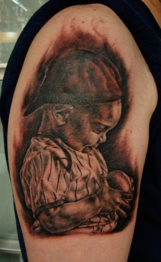 Black and Grey Child Baseball Portrait Tattoo, Seattle Tattoo Expo, USA