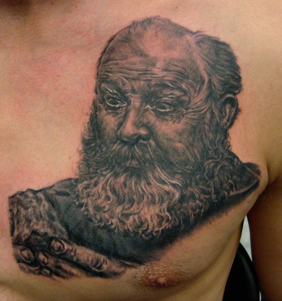 Black and Grey Memorial Portrait Tattoo of Crazy Uncle, (fresh) on chest, Seattle Tattoo Expo, USA
