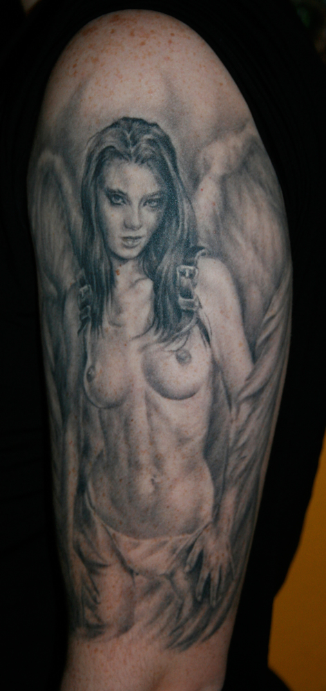 Black and Grey Nude Angel with Strap-On Wings Pin Up Style Tattoo, (healed photo)