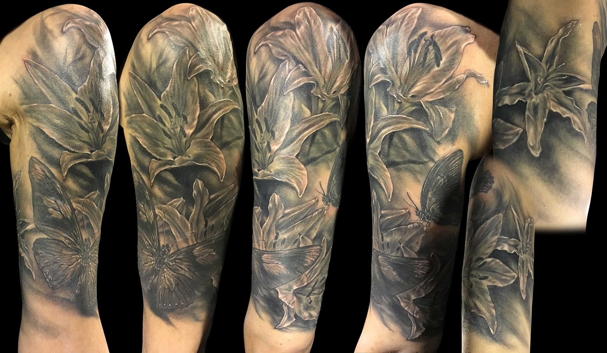 Black and Grey Lily and Butterfly Half Sleeve, (black and grey is healed, white is fresh in this photo)