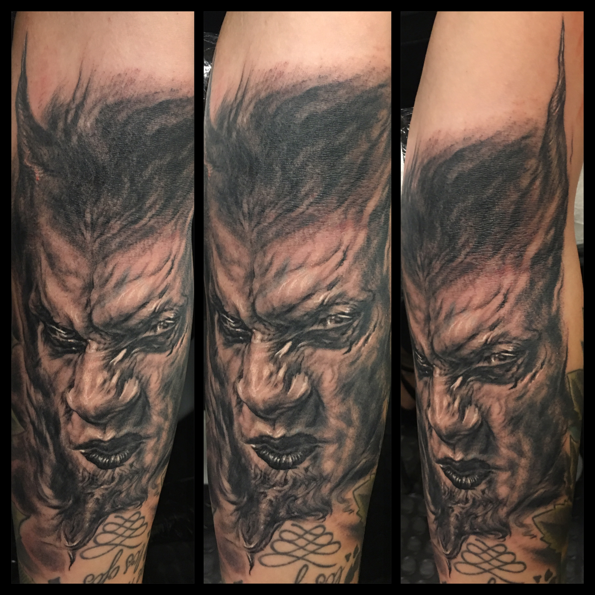 Black and Grey Demon Tattoo, tattooed at Barcelona Tattoo Expo (fresh)