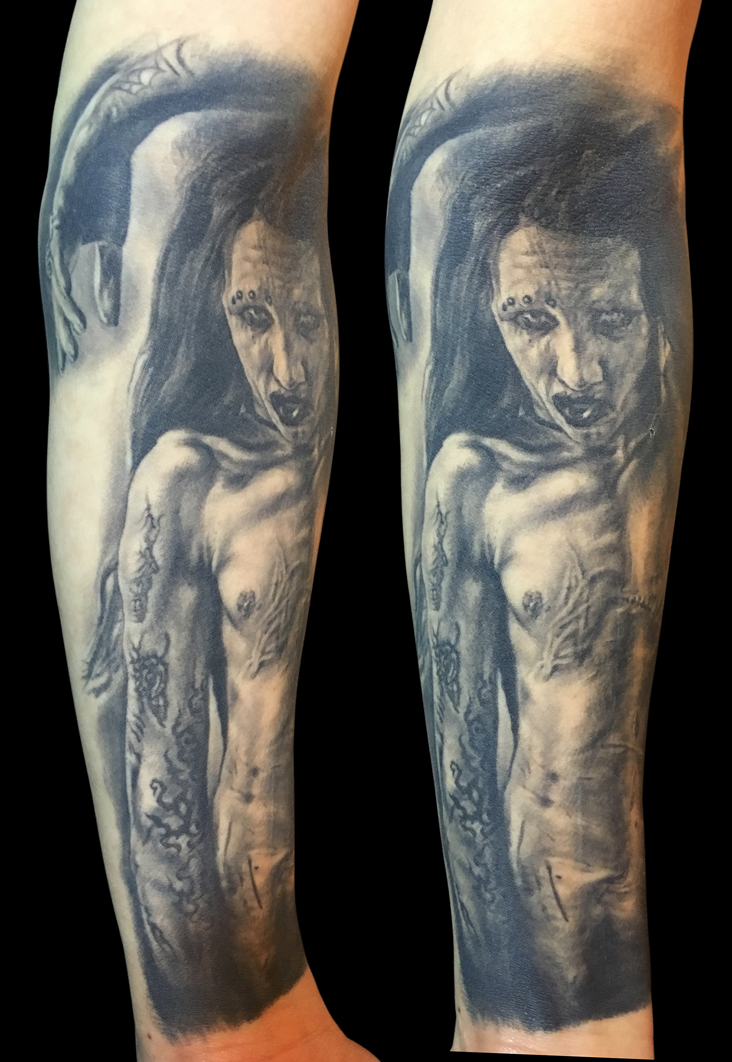 Black and Grey Marilyn Manson Portrait Tattoo, (healed)