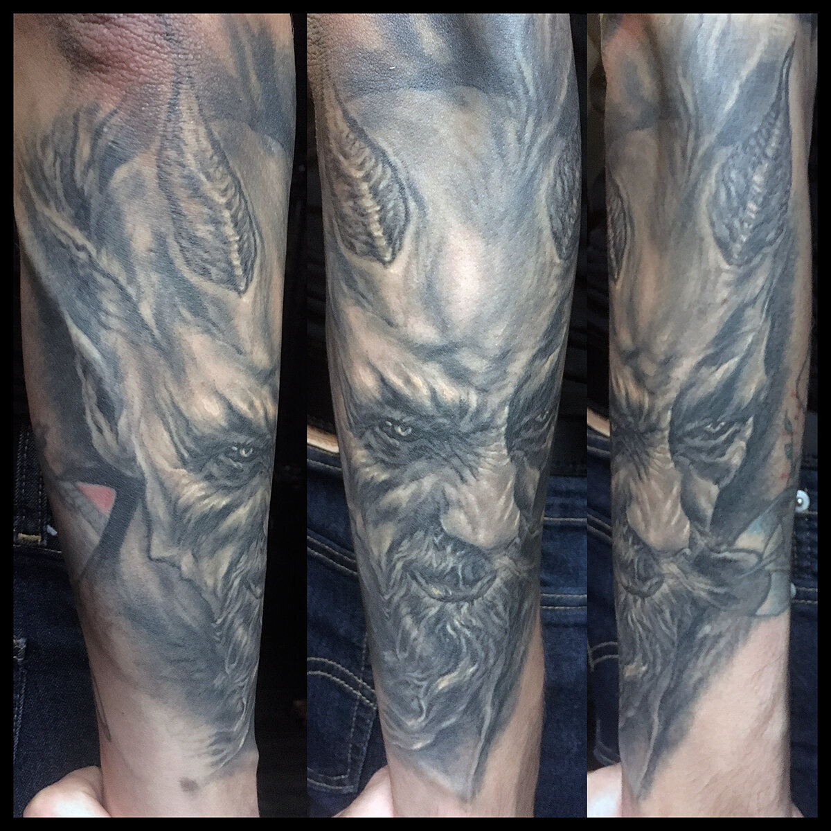 """Black and Grey Demon / Devil Tattoo (healed) Thank you to my friend Mathis """" Yggdrasil Photo """" Backe for posing for a reference photo"""