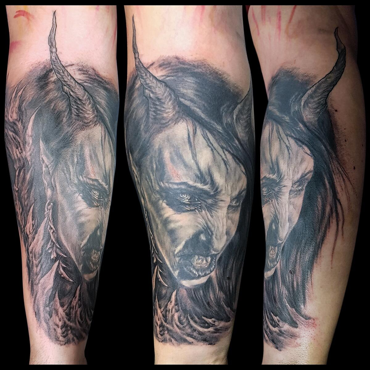 Black and Grey Female Demon Tattoo (part fresh, part healed). Many thanks to my friend  Makani Terror  for posing for me for a reference photo