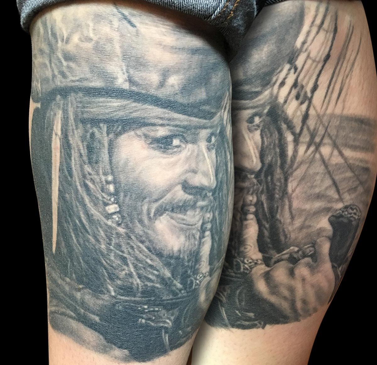 Black and Grey Johnny Depp Captain Jack Sparrow Portrait Tattoo, (healed) on calf   .Must Watch.. .