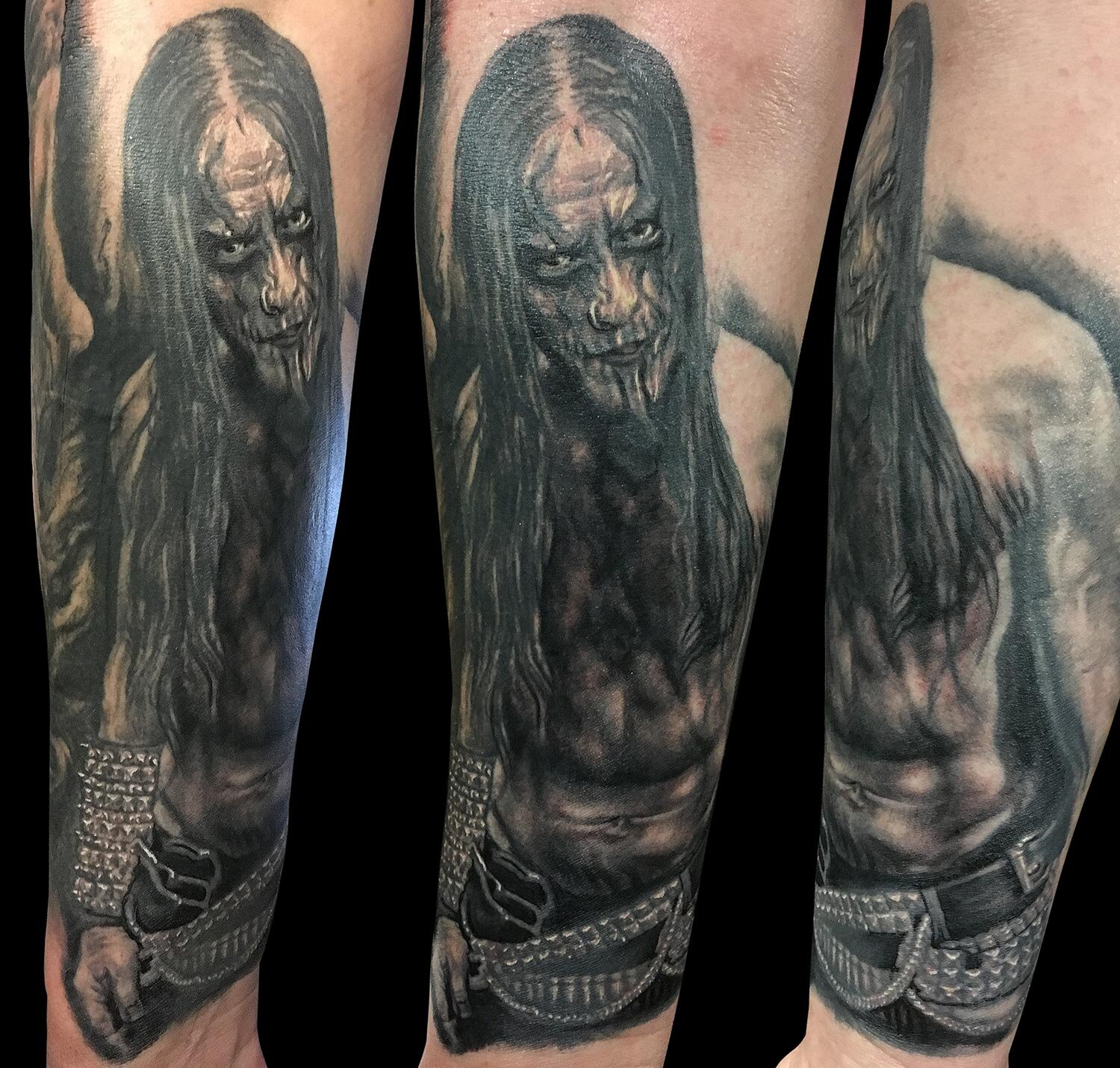 Black and Grey Frost Corpsepaint Portrait Tattoo (part fresh part healed)