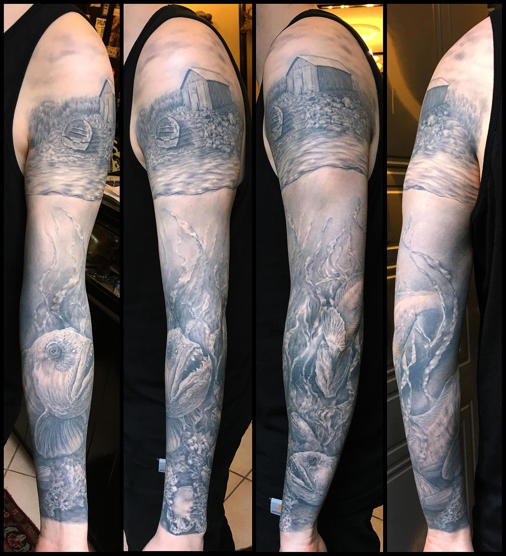 Black and Grey Wolf Fish (Steinbit) with Norwegian Boathouse Sleeve Tattoo, (healed)