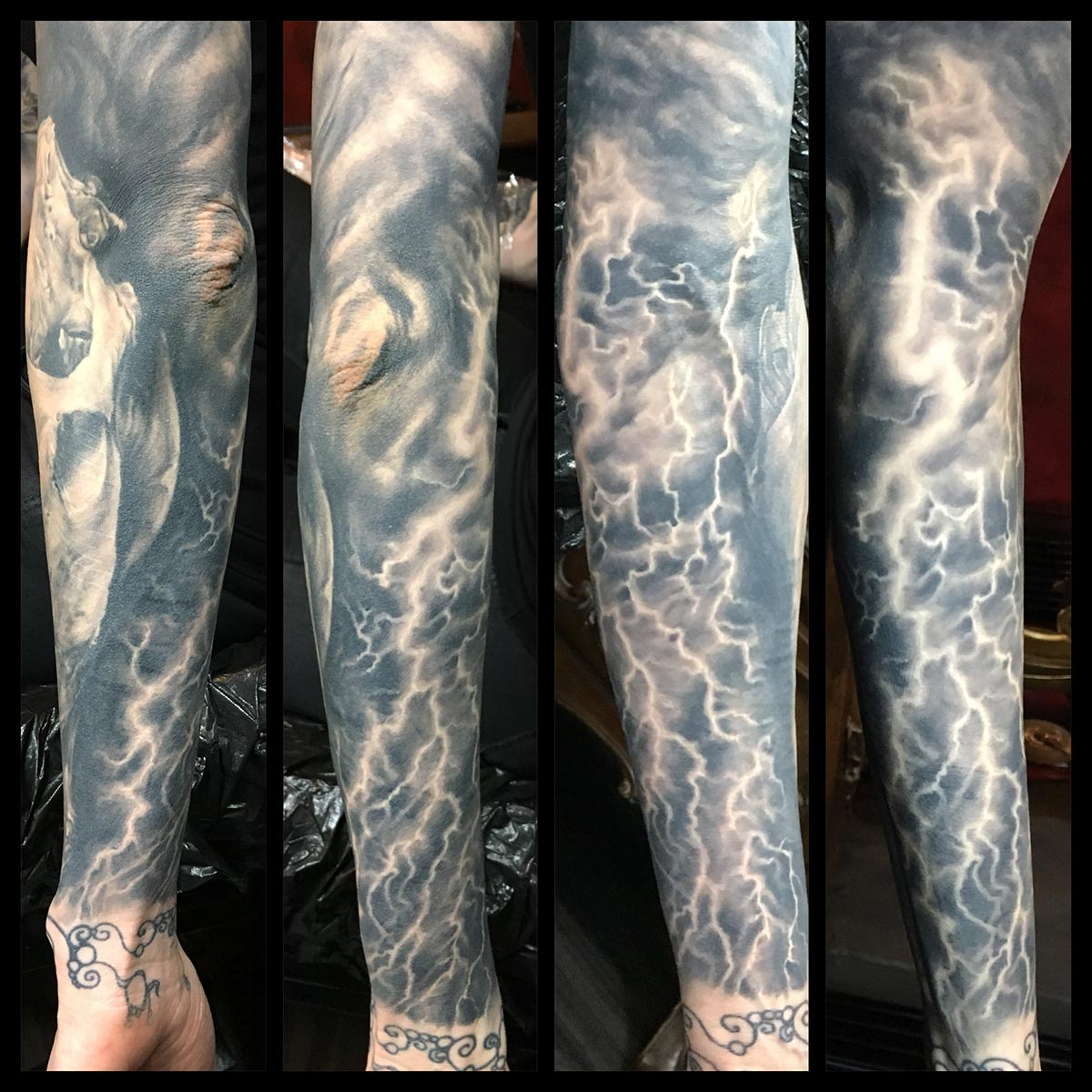 Black and Grey Live Horse Dead Horse Lighting Sleeve (healed)