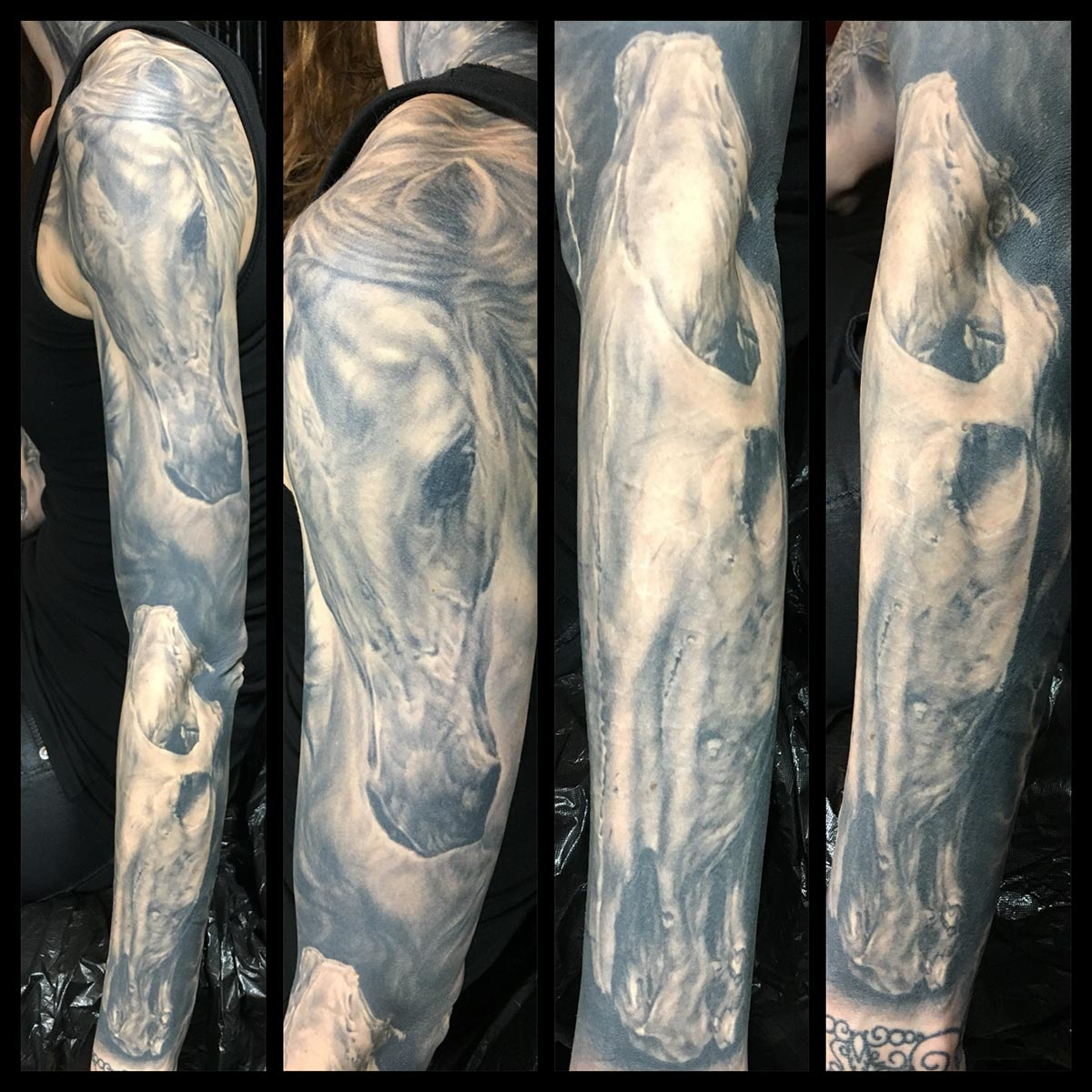 Black and Grey Live Horse Dead Horse Lighting Sleeve (healed).  Special care was taken to fit the horse skull into the anatomy of her arm for optimum sculptural effect.