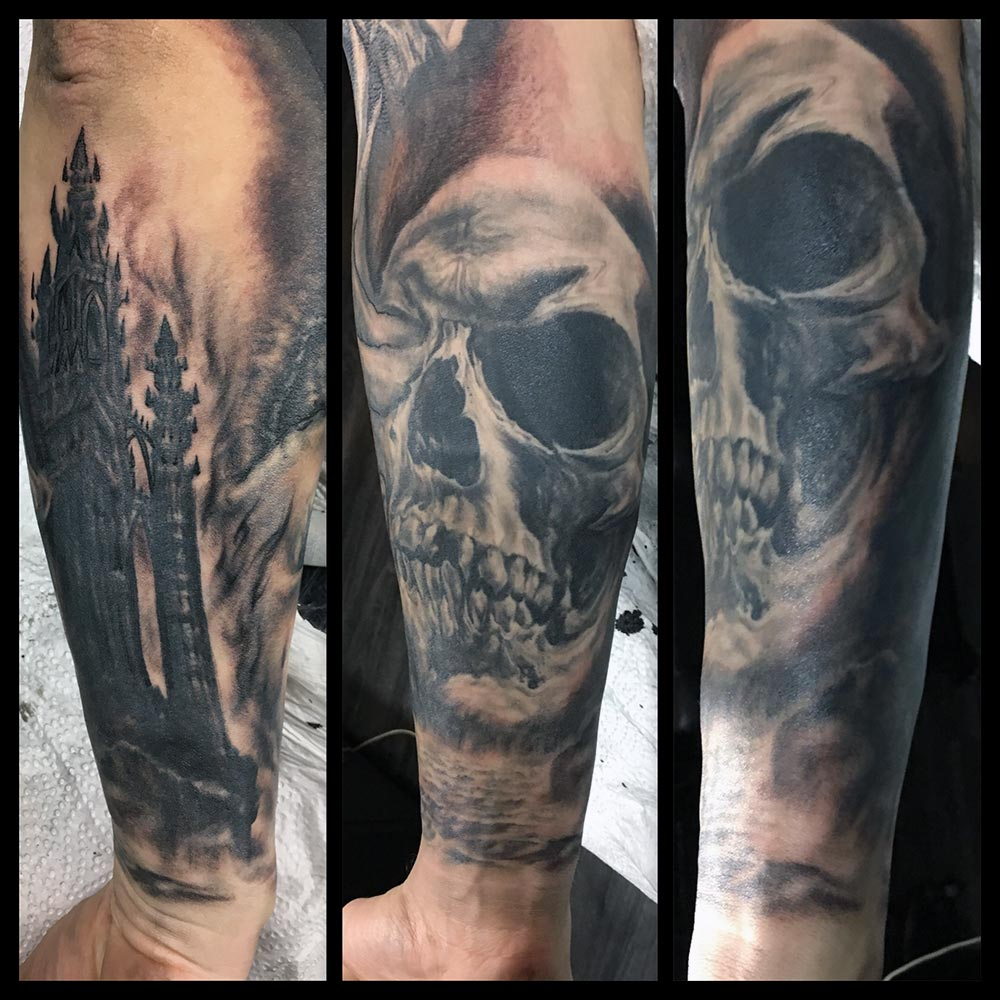 Skull Island and Spire portion of sleeve in progress
