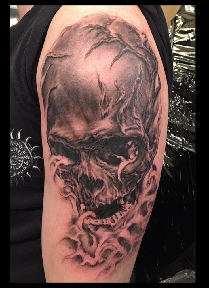 Black and Grey Root Skull, first session (fresh)