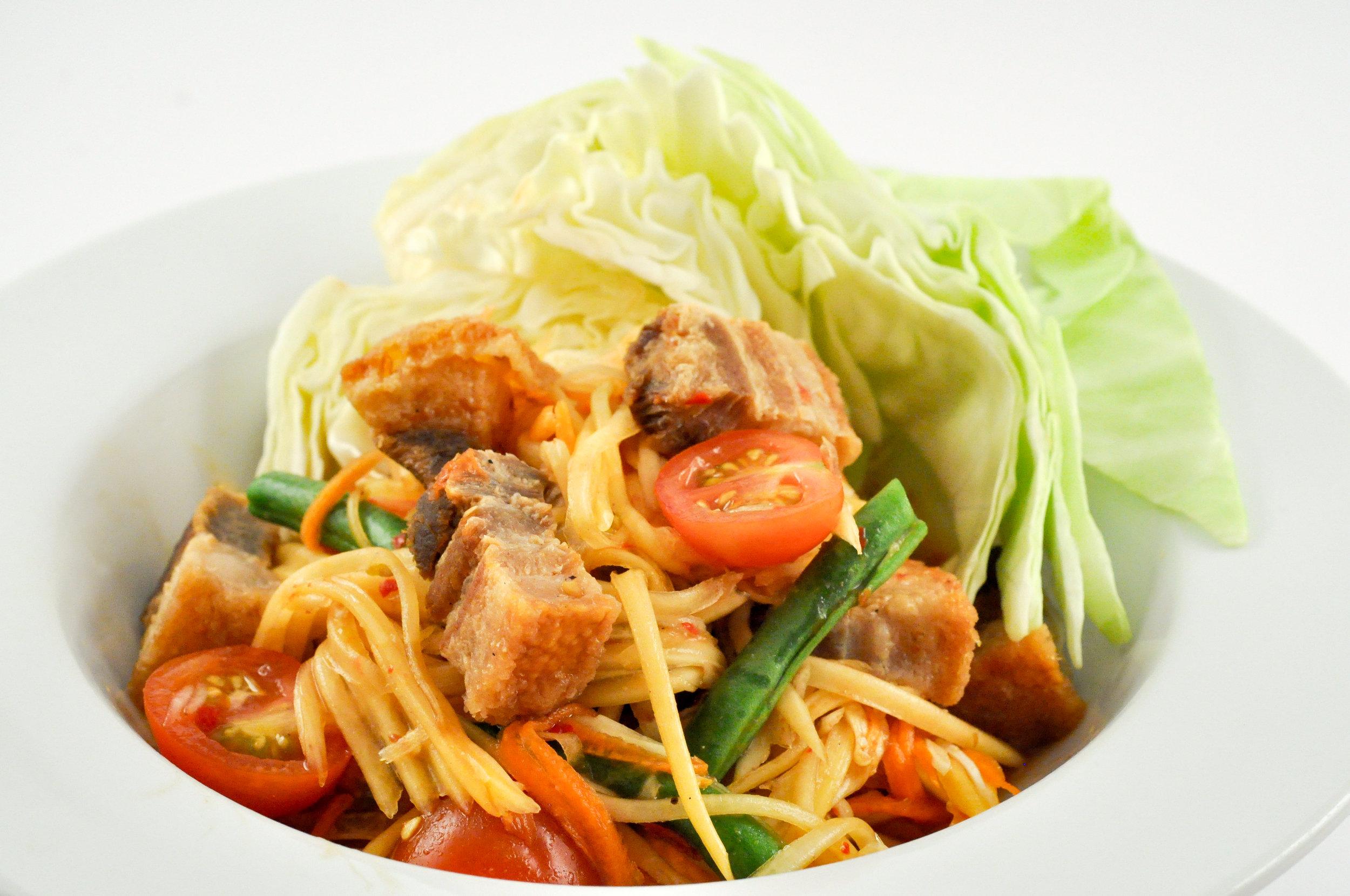 Tum Moo Krob - Papaya Salad with Crispy Pork Belly