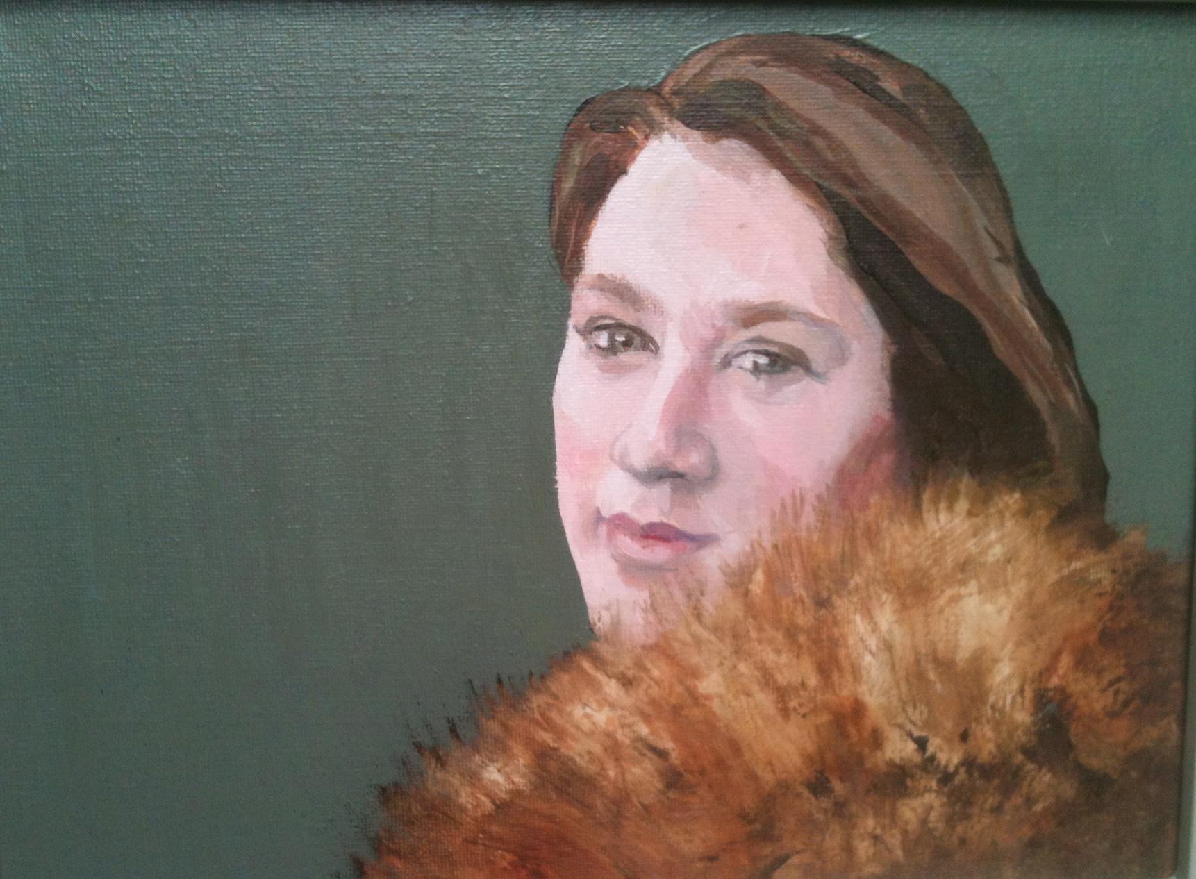 Girl with a fur collar