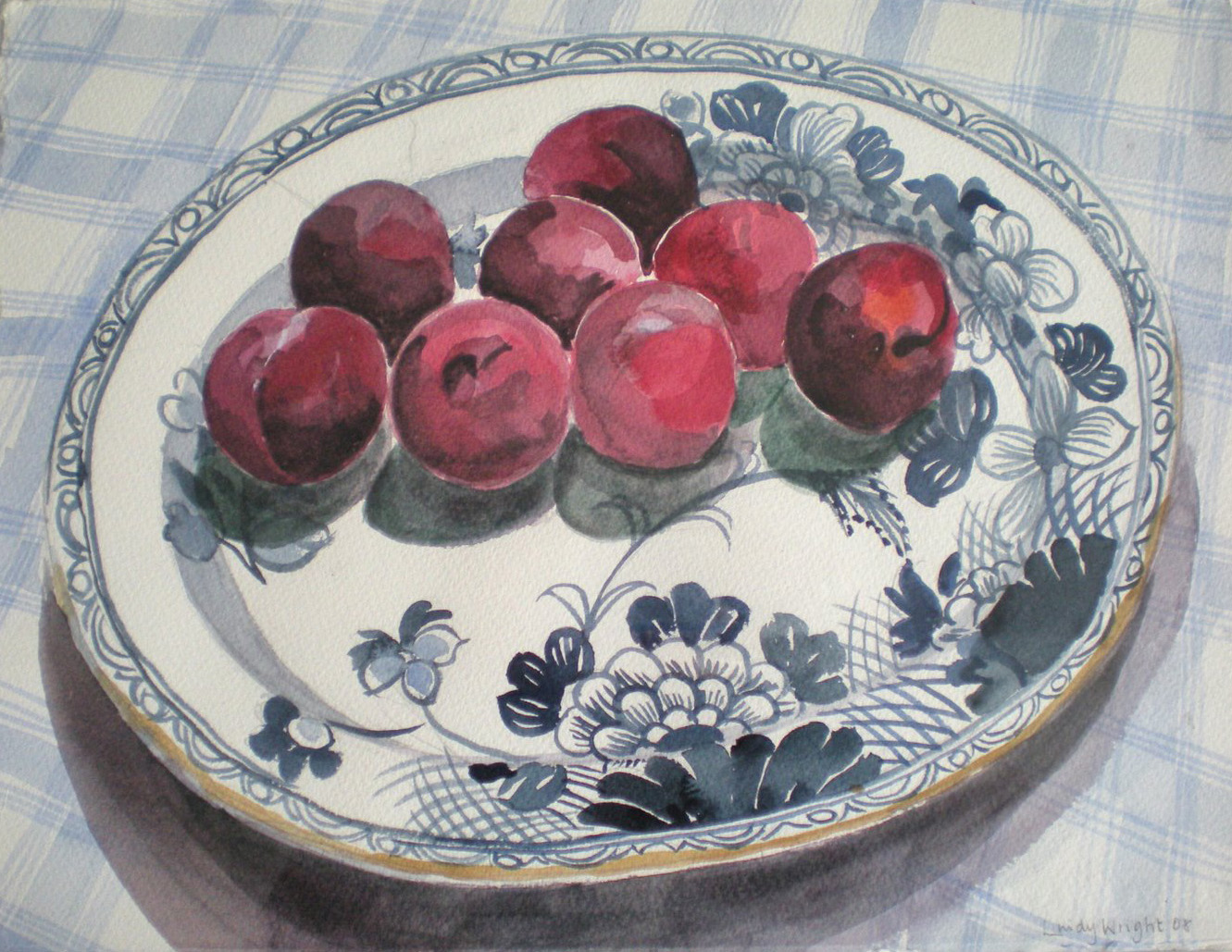 Plums on blue & white