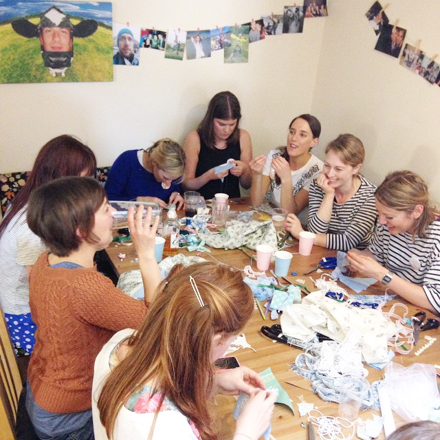 The Crafty Hen baby shower Bunting making.jpg