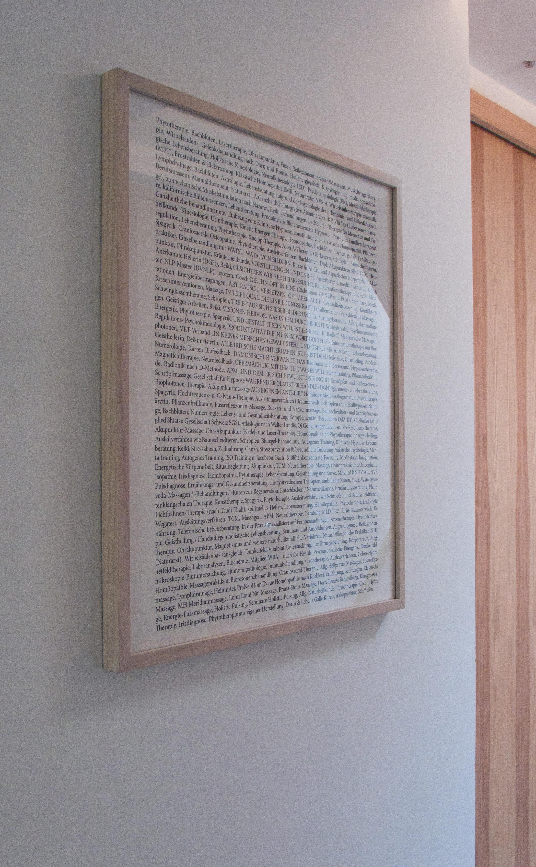 Blatt mit einer Auflistung von verschiedenen im Kanton Appenzell praktizierten Heilmethoden