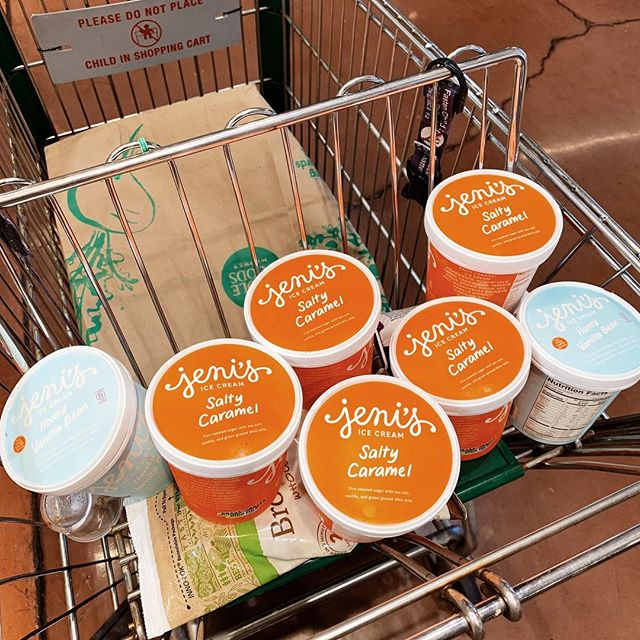 Seriously doing my best to spread the word about @jenisicecreams on the west coast! Way to commit @stevemaurer1! . . . #icecream #saltycarmel #vanilla #groceryshopping #snacks #commitment #california #ohioborn