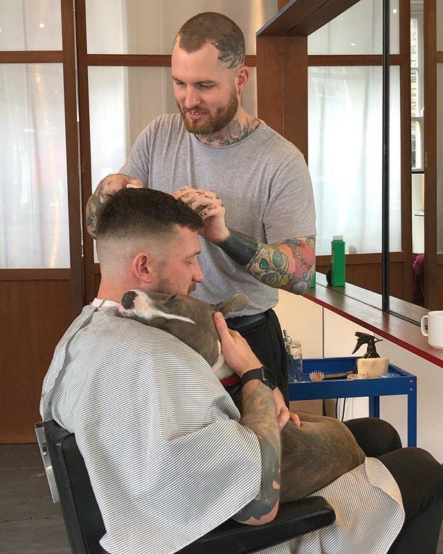 Haircuts come with cuddles if you're lucky! 🐶❤️✂️💈 #ELPbarbershop #londonbarber #menshair #wetshave #haircut #beer #girlswithshorthair #girlcrop #barbershop #menshaircut #classiccut #malegrooming #amwellstreet #ec1 #barbershopconnect #modernbarber #wahl #grooming #shopdog