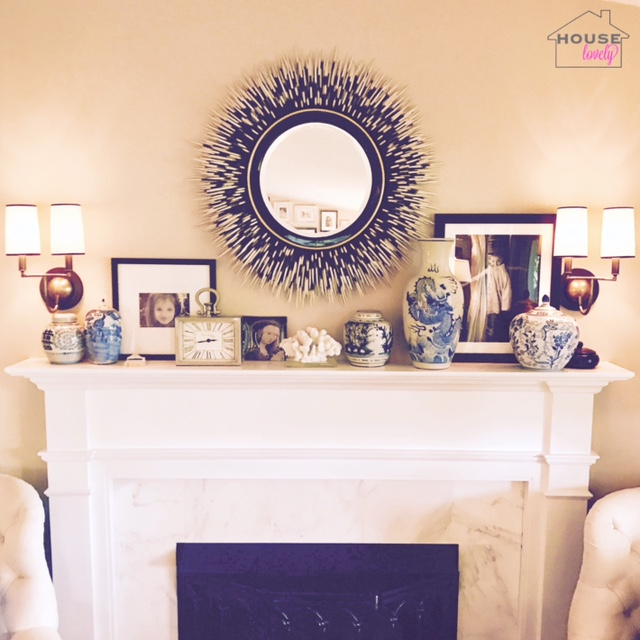 Porcupine mirror, blue and white porcelain, sconces are by  Visual Comfort.