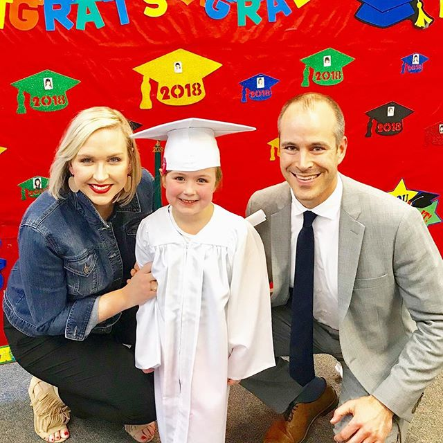 "Happy Pre-K graduation to our second lady in command, Poppy cat! 🐱 She's so sweet and kind we can't wait for her to hit them with some ""Poppy magic"" in kindergarten! (Not sure why I have a death grip on her. Either 1- I'm afraid I'm going to fall over because #squatting 2- it's symbolic and I don't want her to enter this next phase because it means she's becoming a tiny LADY?!) #youchoose #probablythesquatting #prekgraduation #prek #poppycat #weloveyou"