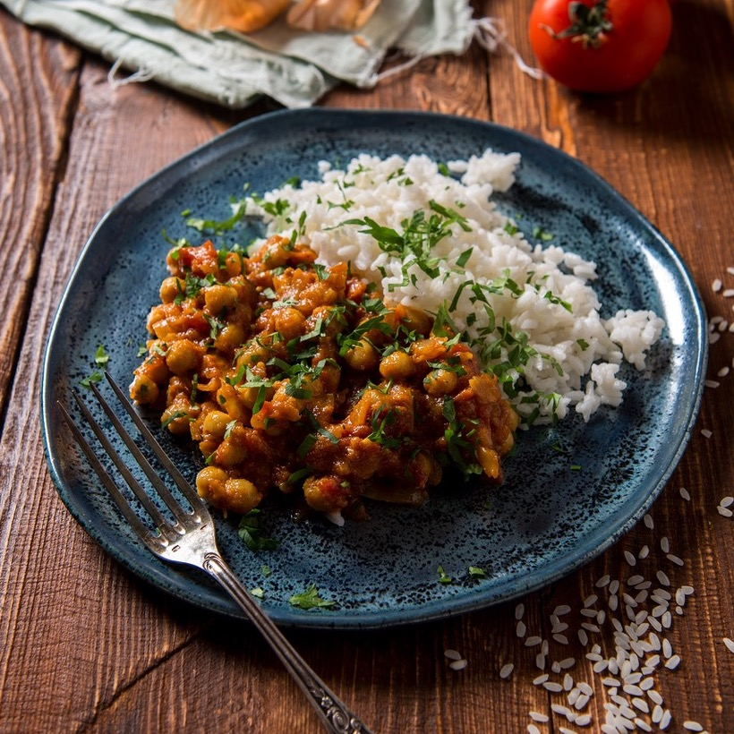 CURRY À L'INDIENNE - CHUTNEY DE FIGUES, curry & masalaPOIS CHICHES & RIZ BASMATI