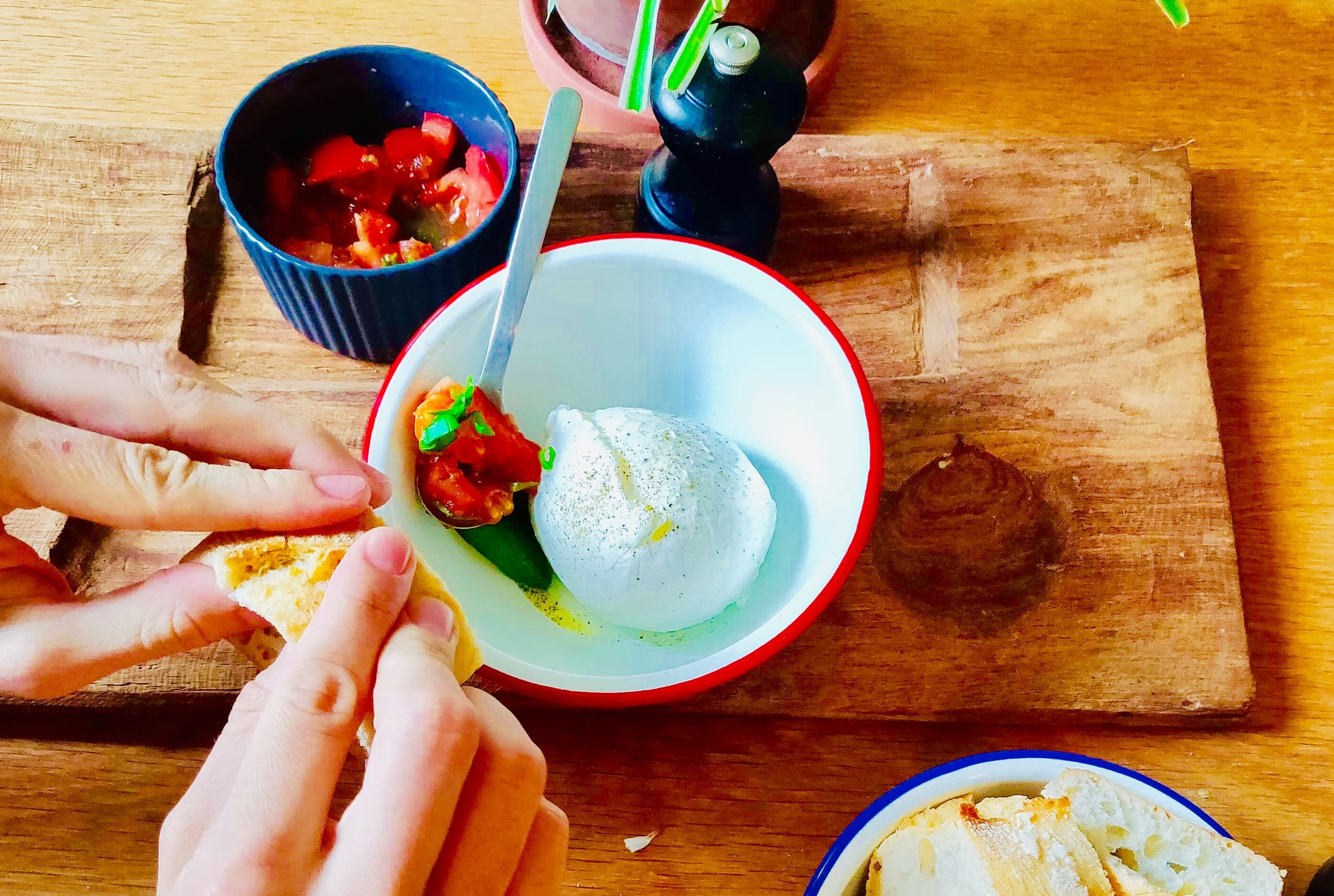 Burrata, tartare de tomates, basilic - Chutney de tomates, gingembre & piment d'Espelette