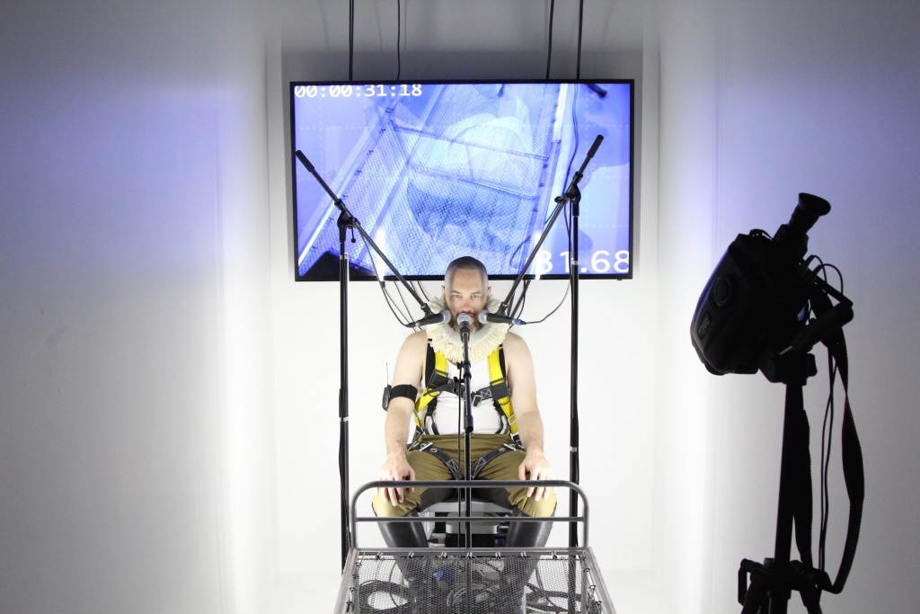 When the central space was not active, performers would inhabit installations surrounding the central space. Many utilized complex layers of technology.