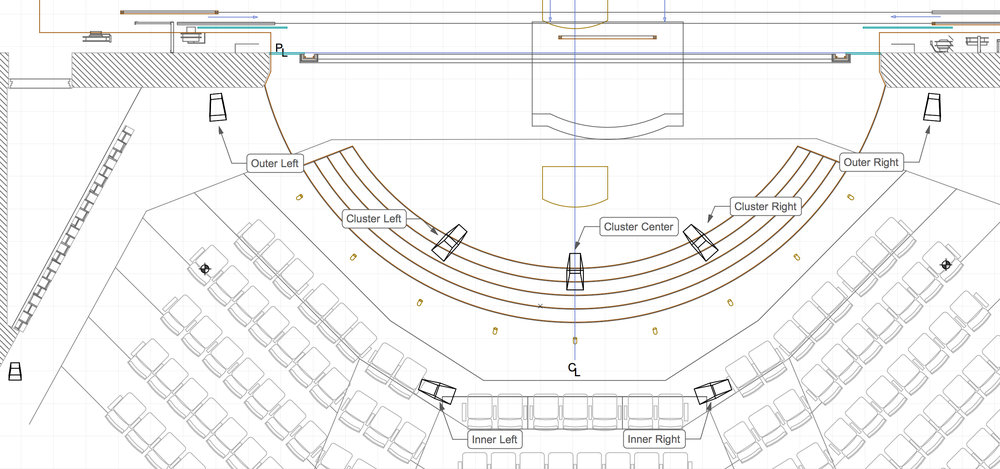 A screen grab from a speaker plot in Vectorworks showing the LCR speaker system in relationship to the first few rows of the audience seating.