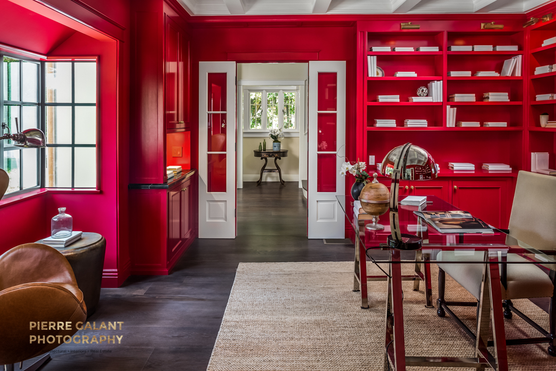 This red office makes a bold statement, for the powerful entrepreneur.