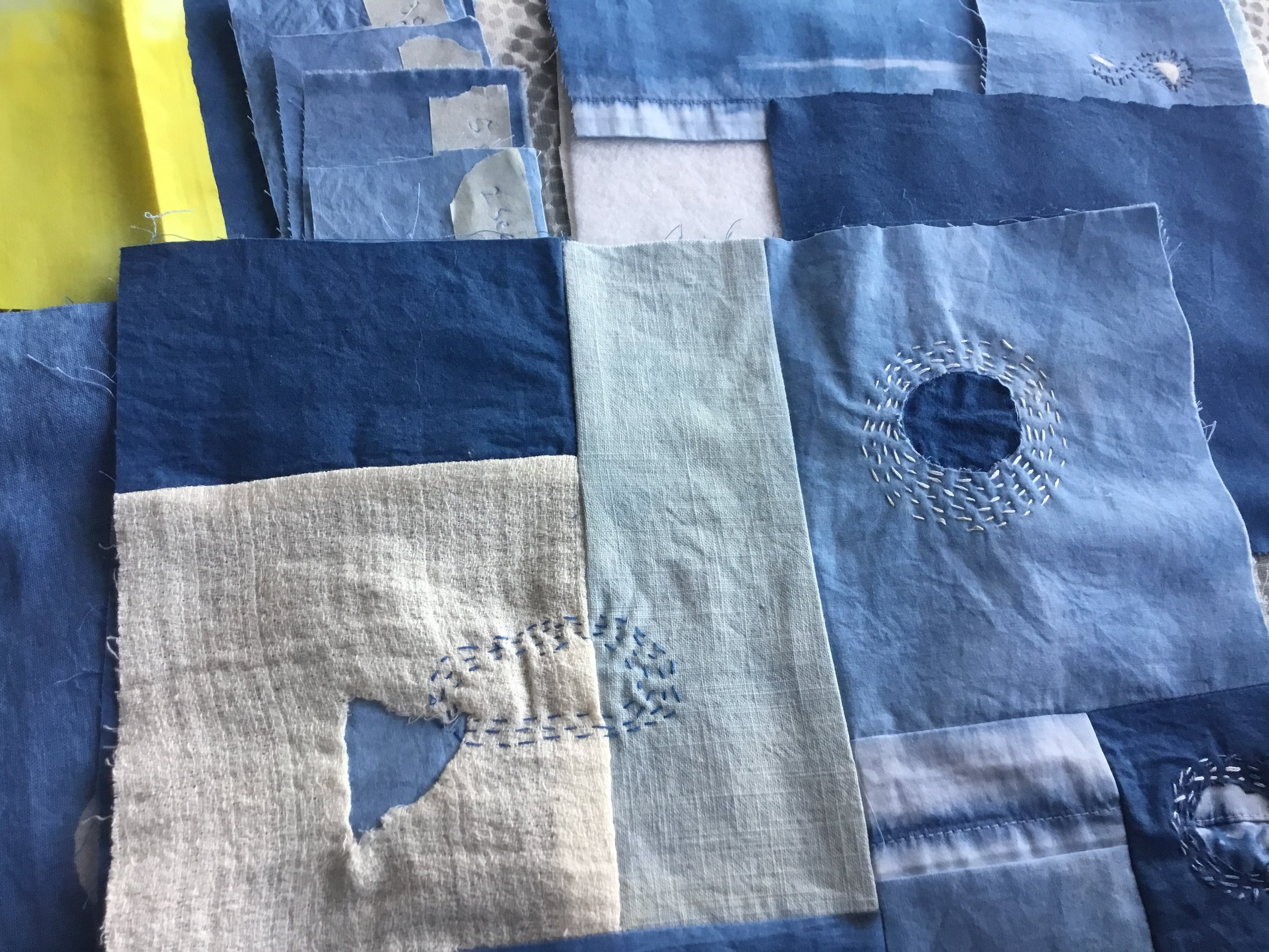 Indigo dye cotton and linen with Boro stitching, 2018
