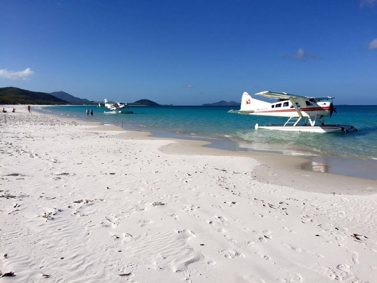 Seaplanes leaving and pick-up content guests. There's a real temptation to hide, and stay on till the next plane arrives. Make sure to get on the last one out, though, as there's likely no fresh water on the island.