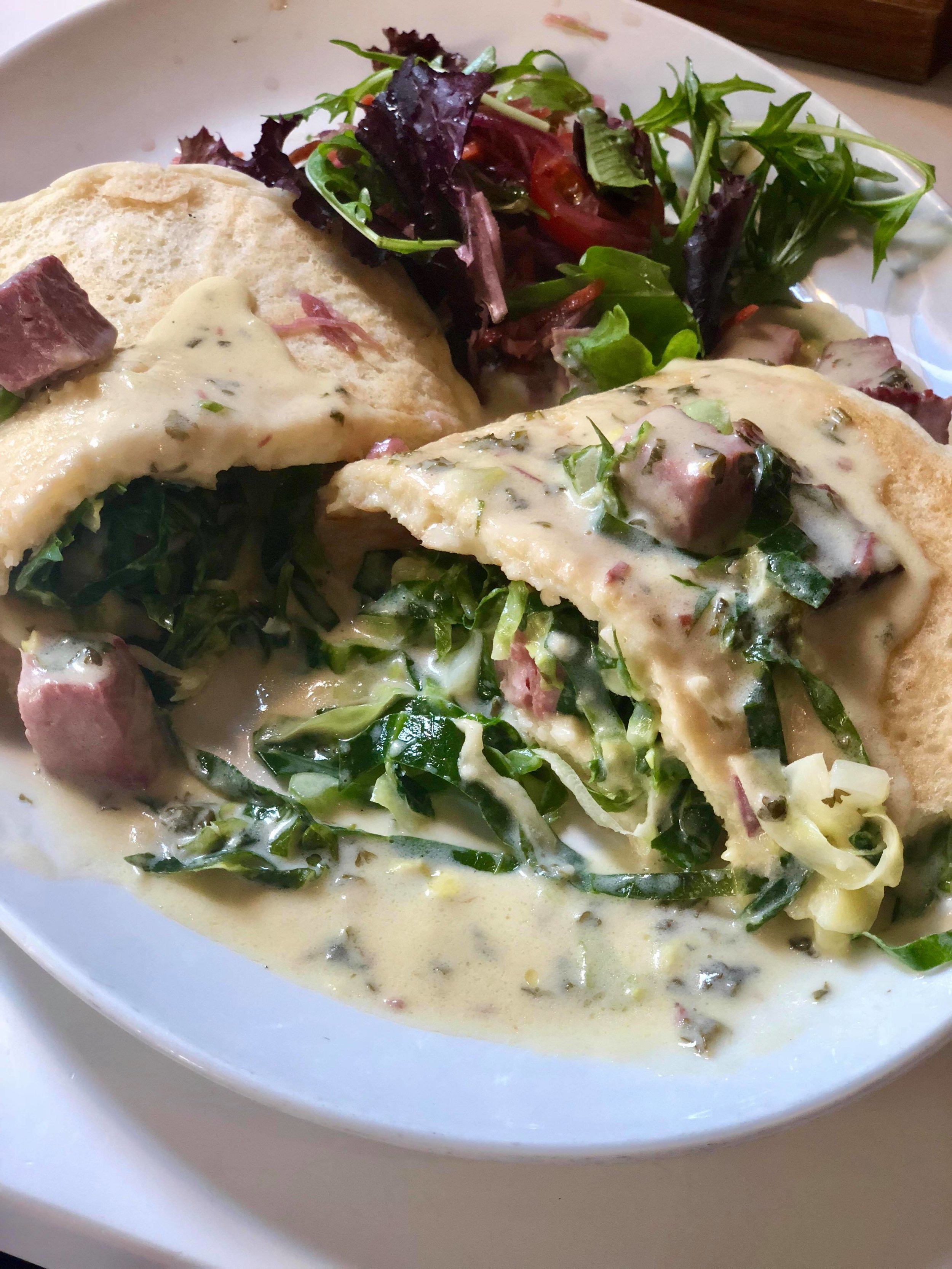 - Corned Beef Boxty: diced corned beef and cabbage served in a creamy parsley sauce, wrapped in a boxty pancake.