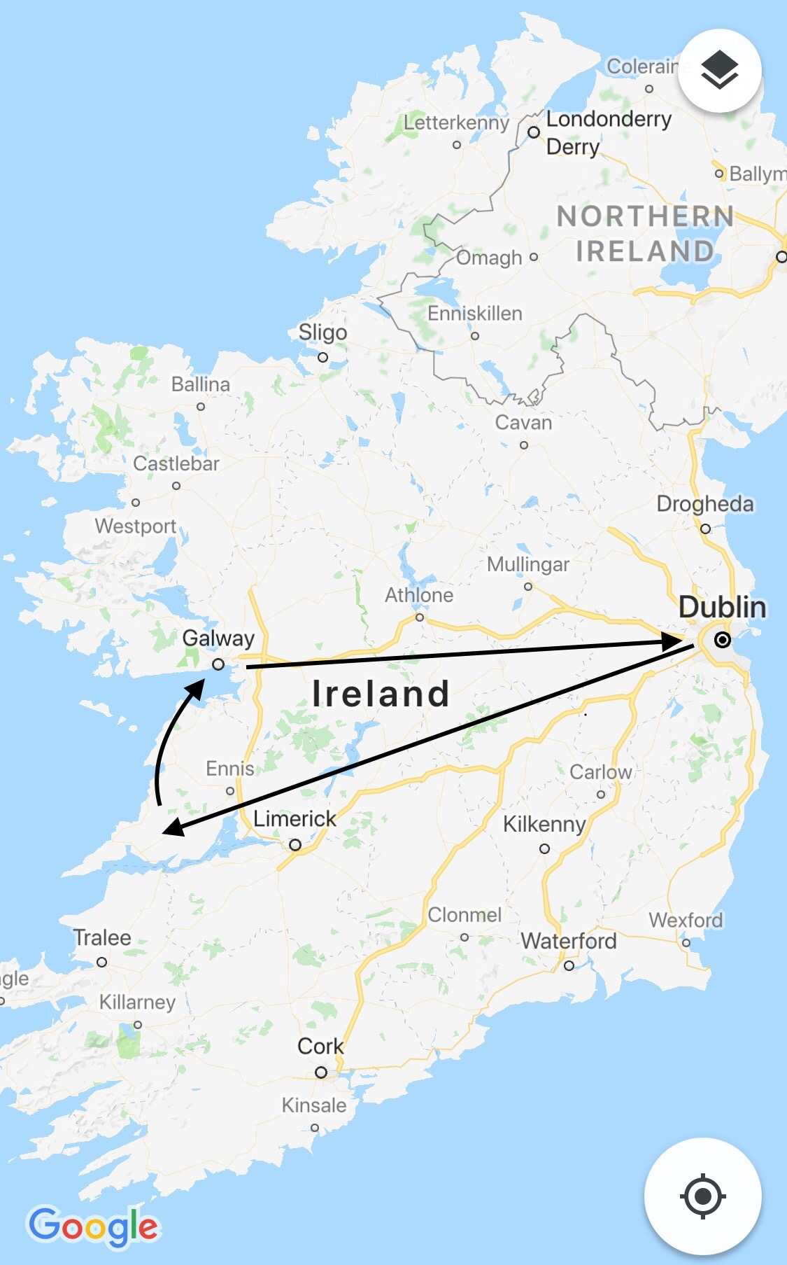 - Day 2 on the Emerald Isle was spent on a tour of the western side of Ireland. From Dublin to the Cliffs of Moher to Galway,the loop we made was a classic trek across the country, and took no more than 3.5 hours in either direction.