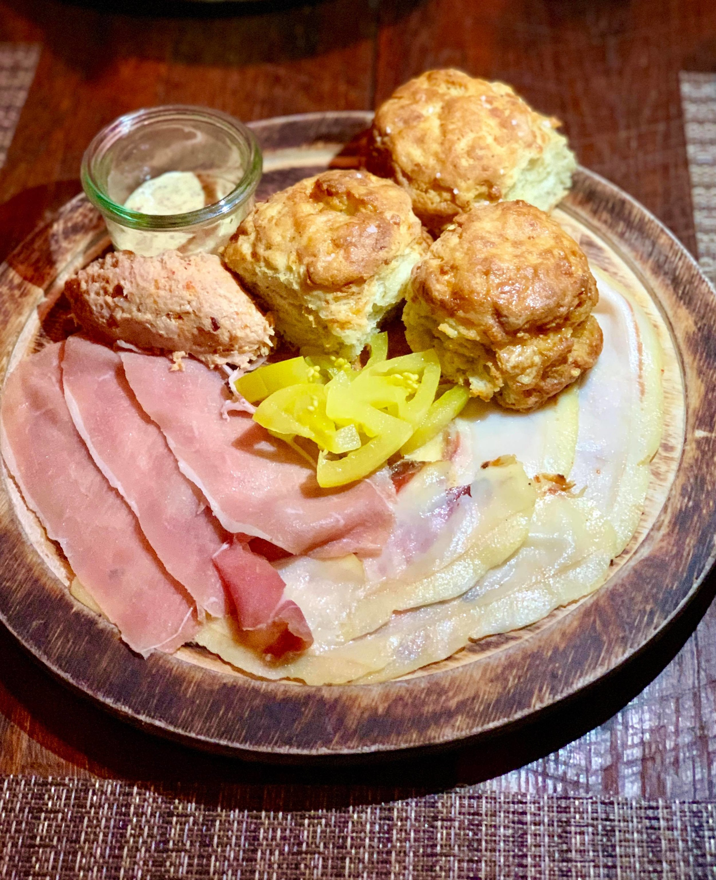 "- KY Broadbent Country Ham, HUSK ""Reserve"" Pickles, Dijonnaise, Black Pepper Biscuits"